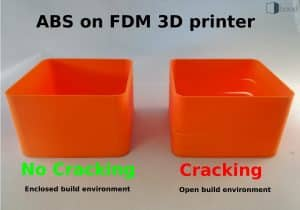 Cracking of ABS on a FDM 3D printer